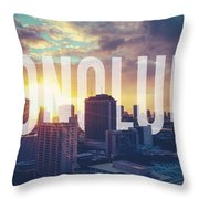 Retro Filtered Honolulu With Text Throw Pillow