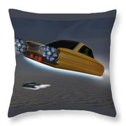Retro Flying Objects Throw Pillow