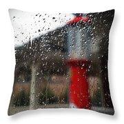 Retro Gas Pump On A Rainy Day Throw Pillow