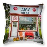 Retro Gas Station Throw Pillow