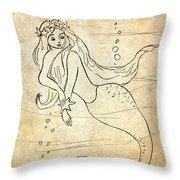 Retro Mermaid Throw Pillow