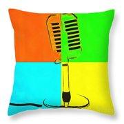 Retro Microphone Pop Art 2 Throw Pillow