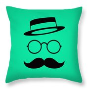 Retro Minimal Vintage Face With Moustache And Glasses Throw Pillow