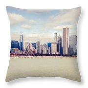 Retro Panorama Chicago Skyline Picture Throw Pillow