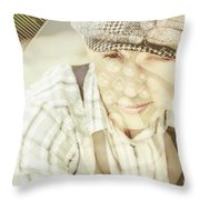 Retro Typist With Dream To Inspire Throw Pillow