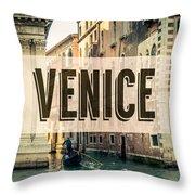 Retro Venice Grand Canal Poster Throw Pillow