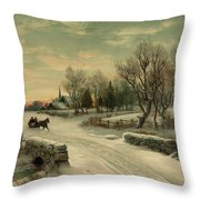 Retro Vintage Rural Winter Scene Throw Pillow