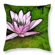 Retro Water Lilly Throw Pillow by Bob Christopher