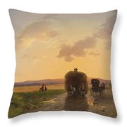 Return From The Field In The Evening Glow Throw Pillow