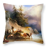 Return From The Mountain Pasture Throw Pillow