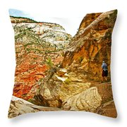 Return Trip On Hidden Canyon Trail In Zion National Park-utah Throw Pillow