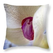 Revealing The Heart Of An Orchid Throw Pillow