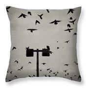 Revenge Of The Birds Throw Pillow