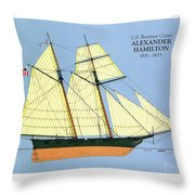 Revenue Cutter Alexander Hamilton Throw Pillow