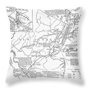 Revolutionary War Map, 1776 Throw Pillow