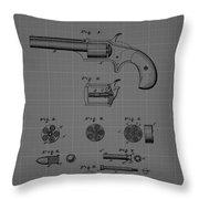 Revolver Firearm Patent Blueprint Drawing Throw Pillow