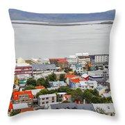 Reykjavik On The Water Throw Pillow