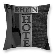 Rhine Hotel St Martin Sign Bw Throw Pillow