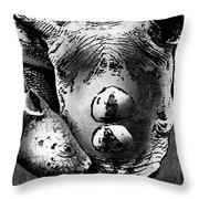 Rhino And Baby Throw Pillow