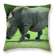 Rhino And Friend Throw Pillow