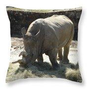 Rhino Eating Throw Pillow