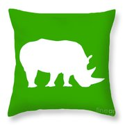 Rhino In Green And White Throw Pillow