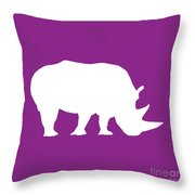 Rhino In Purple And White Throw Pillow