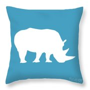 Rhino In White And Turquoise Blue Throw Pillow