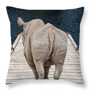 Rhino On The Dock Throw Pillow