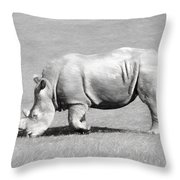 Rhinoceros Charcoal Drawing Throw Pillow