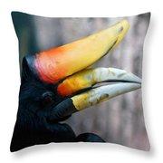 Rhinoceros Hornbill  Throw Pillow by Ernie Echols