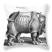 Rhinoceros No 76 From Historia Animalium By Conrad Gesner  Throw Pillow