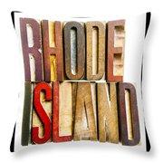 Rhode Island Antique Letterpress Printing Blocks Throw Pillow