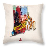Rhode Island Map Art - Painted Map Of Rhode Island Throw Pillow