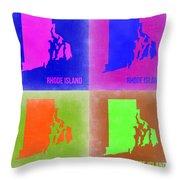 Rhode Island Pop Art Map 2 Throw Pillow