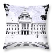 Rhode Island State House Bw Throw Pillow