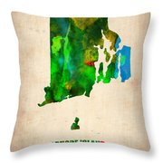 Rhode Island Watercolor Map Throw Pillow by Naxart Studio