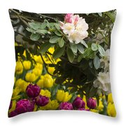 Rhodies And Tulips Throw Pillow