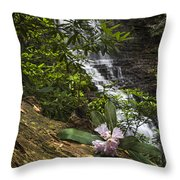 Rhododendron At The Falls Throw Pillow
