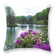 Rhododendron Blossoms And Mountain Pond Throw Pillow