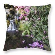 Rhododendron Flowers By Waterfall Throw Pillow