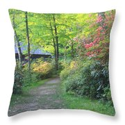 Rhododendron Path In Evening Light Throw Pillow