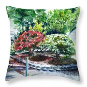 Rhododendrons In The Yard Throw Pillow