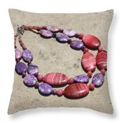 Rhodonite And Crazy Lace Agate Double Strand Chunky Necklace 3636 Throw Pillow