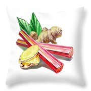 Rhubarb And Ginger Throw Pillow