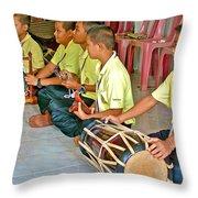 Rhythm Section In Traditional Thai Music Class  At Baan Konn Soong School In Sukhothai-thailand Throw Pillow