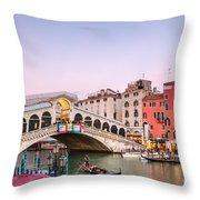 Rialto Bridge At Sunset - Venice Throw Pillow