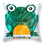 Ribbit The Frog License Plate Art Throw Pillow