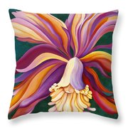 Ribbon Orchid Throw Pillow