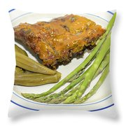 Ribs Plate With Vegetables Throw Pillow
